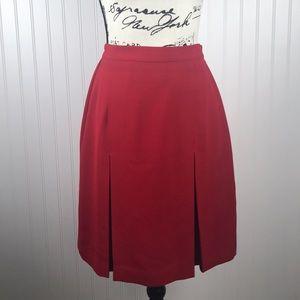 Red Karen Scott Pleated Lined Skirt -Stretch Waist